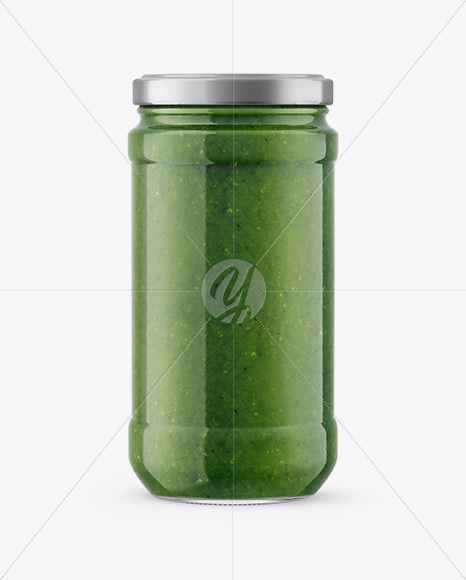 Glass Jar with Pesto Sauce Mockup