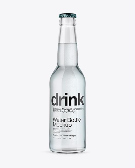 Download 330ml Clear Glass Water Bottle Mockup in Bottle Mockups on ...