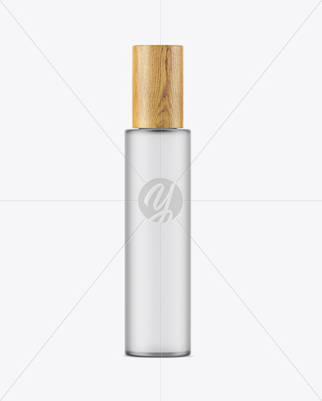 Frosted Glass Bottle W/ Wooden Cap Mockup