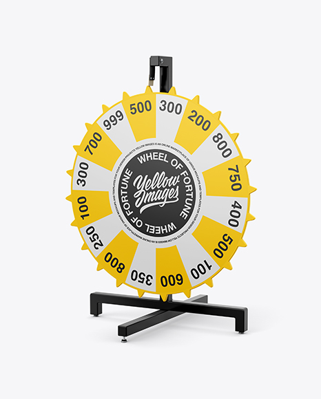 Wheel of Fortune Mockup - Half Side View - Free PSD Download