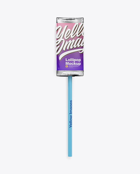 Download Lollipop in Foil Pack w/ Paper Label Mockup - Front View Object Mockups