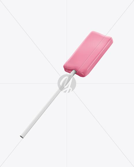 Lollipop in Foil Pack w/ Paper Label Mockup - Half Side View
