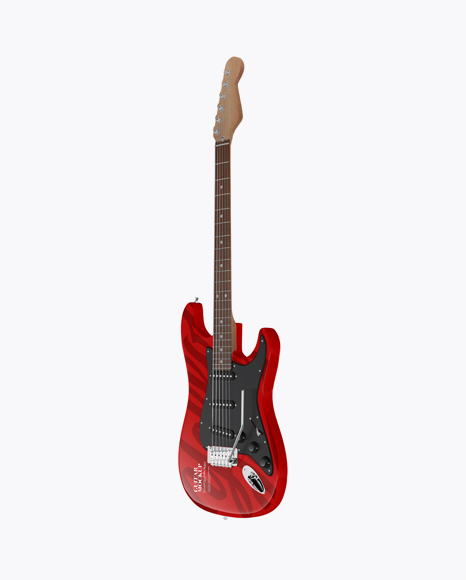Electric Guitar with Wooden Fingerboard Mockup - Half Side View