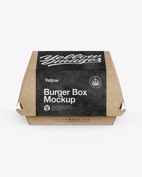 Download Kraft Burger Box Mockup Front View High Angle Shot
