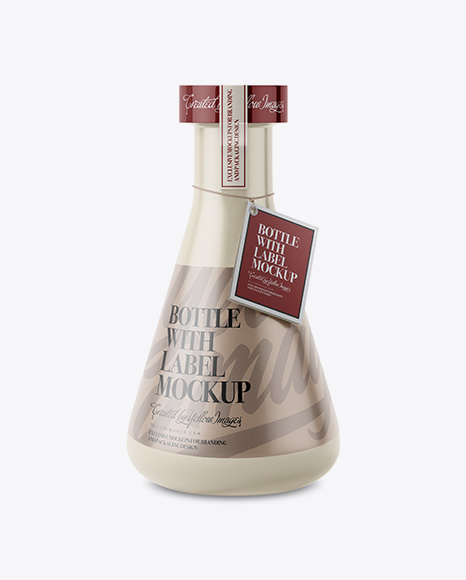 Ceramic Bottle With Paper Label Mockup
