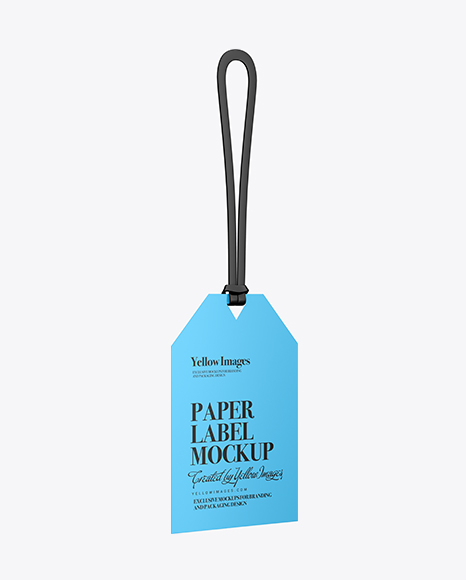 Download Free Glossy Paper Label With Rope Mockup - Half Side View PSD Template