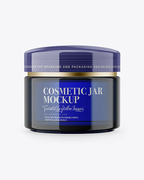Download Free Blue Cosmetic Jar Mockup PSD Template