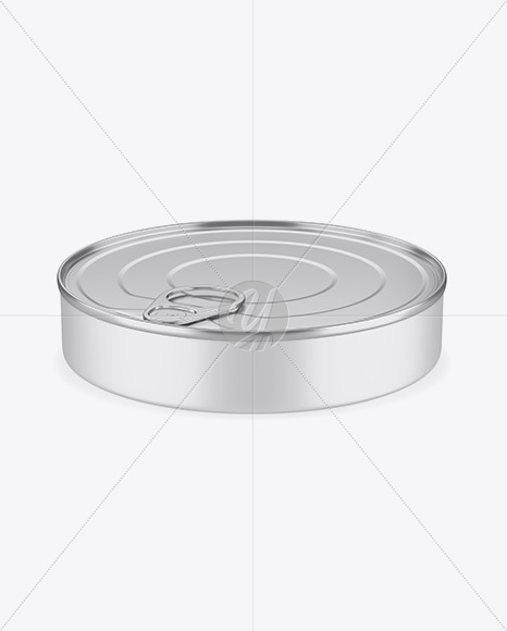 Metallic Tin Can Mockup - Front View (High Angle Shot)