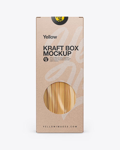 Download Kraft Box With Pasta Mockup Front View In Box Mockups On Yellow Images Object Mockups