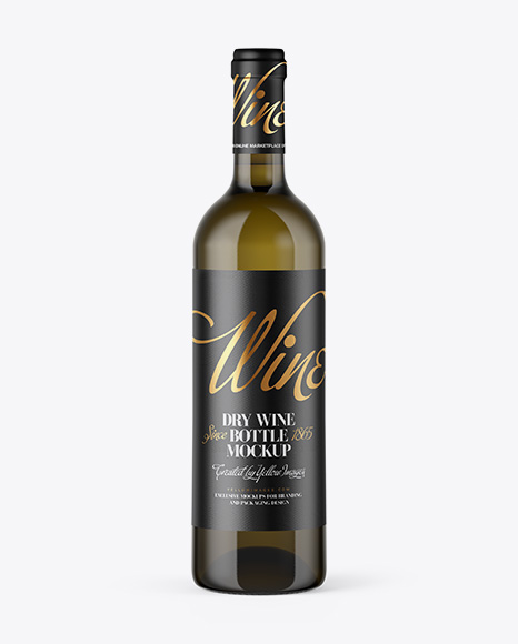 Antique Glass Bottle With White Wine Mockup