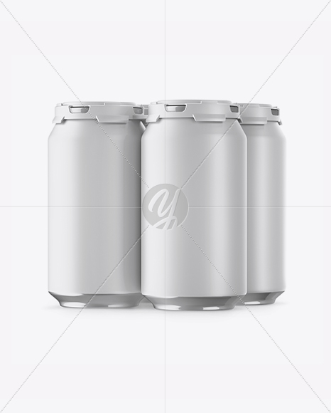 Pack with 4 Matte Aluminium Cans with Plastic Holder Mockup - Half Side View