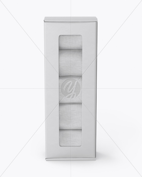 Glossy Paper Box With Socks Mockup