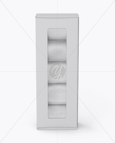 Matte Paper Box With Socks Mockup