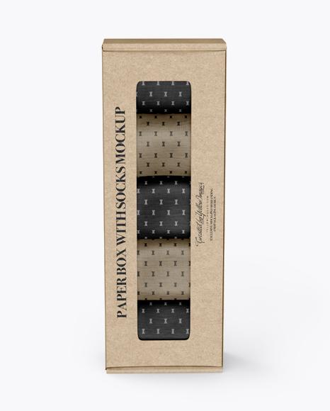Download Kraft Paper Box With Socks Mockup Object Mockups