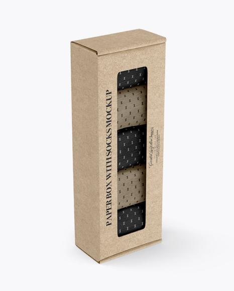 Download Free Kraft Paper Box With Socks Mockup - Half Side View (High-Angle Shot) PSD Template