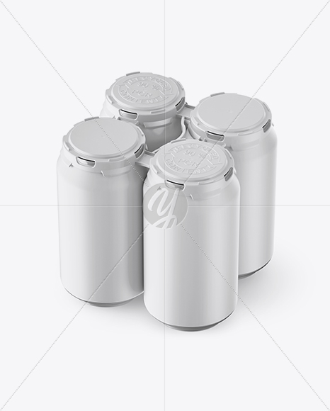 Pack with 4 Matte Aluminium Cans with Plastic Holder Mockup - Half Side View (High-Angle Shot)