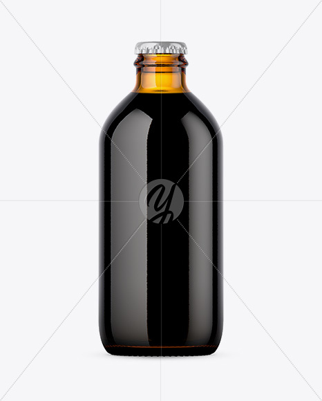 Amber Bottle With Dark Beer Mockup
