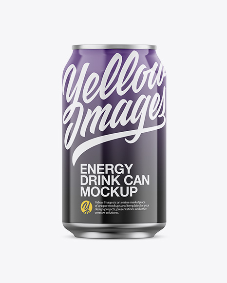 Download Glossy Aluminium Can Mockup - Front View Object Mockups