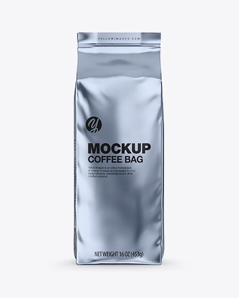 Download Glossy Metallic Coffee Bag Mockup - Front View Object Mockups
