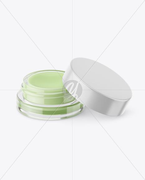 5ml Opened Lip Balm Jar with Matte Cap Mockup (High-Angle Shot)