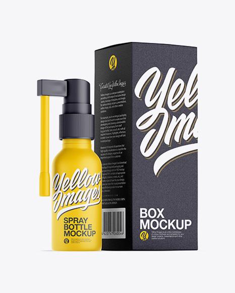 Matte Spray Bottle W/ Paper Box Mockup