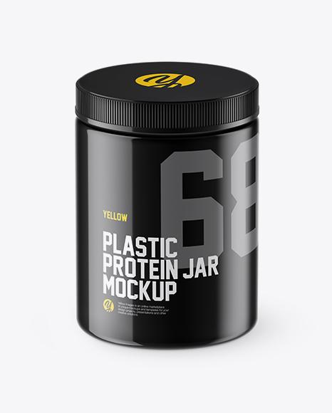 Glossy Plastic Protein Jar Mockup (High-Angle Shot)