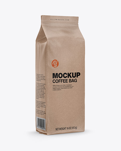 Download Kraft Coffee Bag Mockup - Half Side View Object Mockups