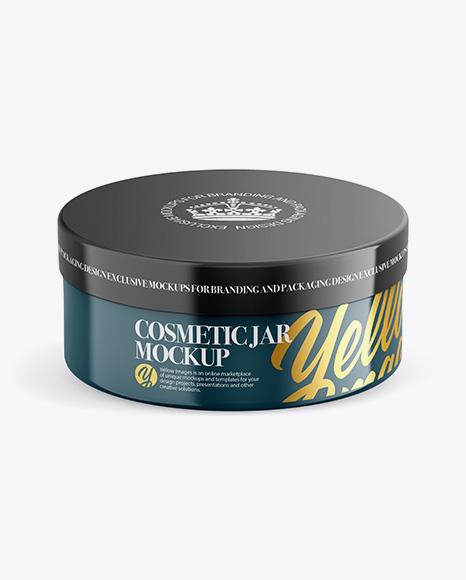 Glossy Plastic Cosmetic Jar Mockup - Front View (High-Angle Shot)