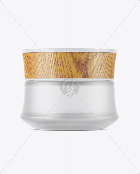 Frosted Glass Cosmetic Jar W/ Wooden Lid Mockup
