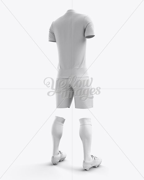 Men's Full Soccer Kit with Mandarin Collar Shirt Mockup (Hero Back Shot)