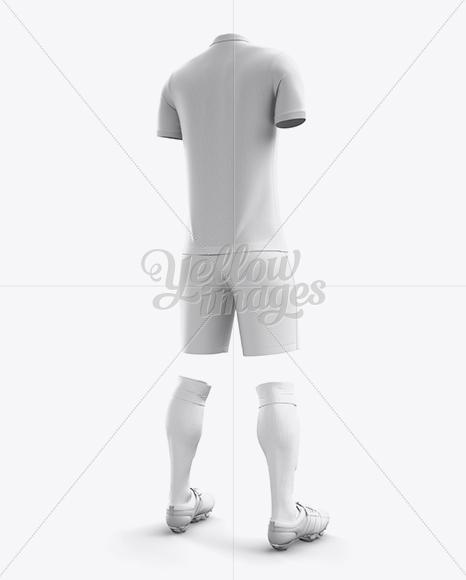 Men's Full Soccer Kit with Polo Shirt Mockup (Hero Back Shot)