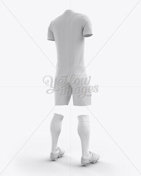 Men's Full Soccer Kit with V-Neck Shirt Mockup (Hero Back Shot)