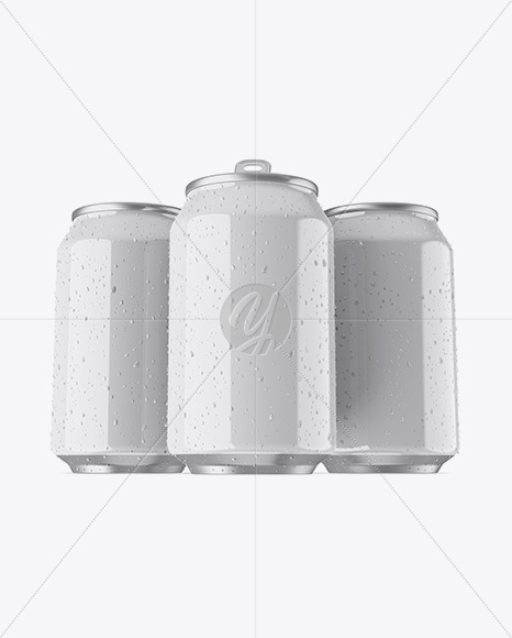 Three 330ml Metallic Aluminium Cans W/ Glossy Finish & Condensation Mockup - Hero Shot