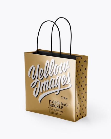 Download Square Metallic Paper Bag Mockup - Half Side View Object Mockups