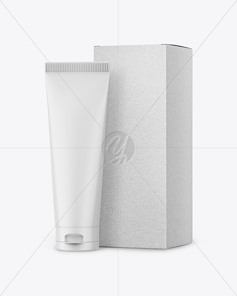 Matte Plastic Tube With Kraft Box Mockup - Halfside View