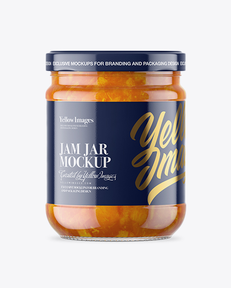 Download Clear Glass Jar with Apricot Jam Mockup Object Mockups