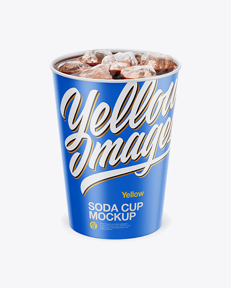 Matte Soda Cup With Ice Mockup - Front View (High-Angle Shot)