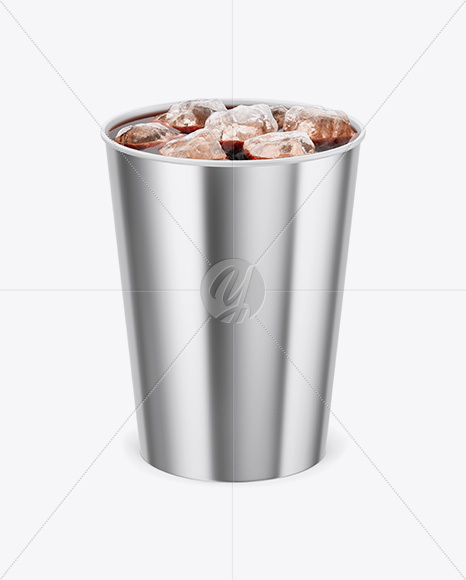 Metallic Soda Cup With Ice Mockup - Front View (High-Angle Shot)