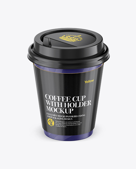 Download Coffee Cup With Sleeve Mockup - Front View (High-Angle Shot) Object Mockups