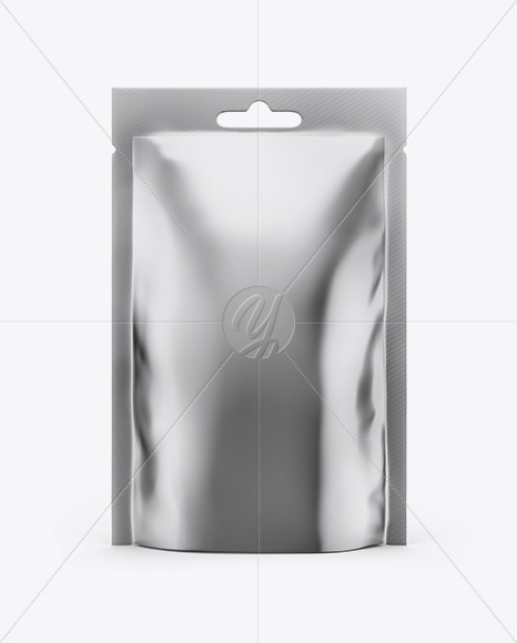 Glossy Metallic Stand Up Pouch Mockup - Front View