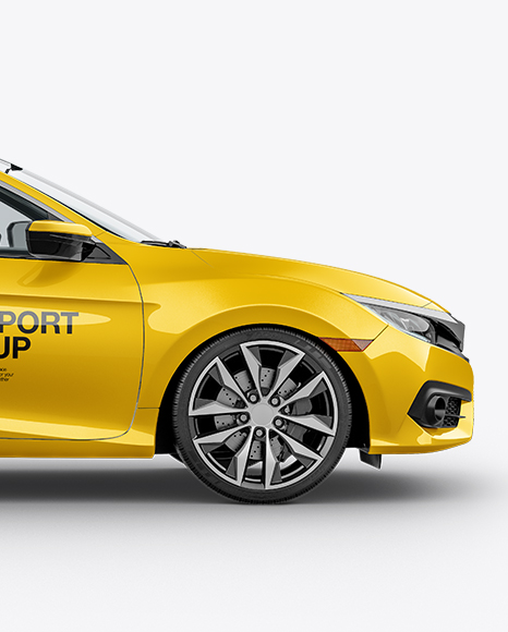 Compact Coupe Car Mockup - Side View