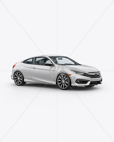 Compact Coupe Car Mockup - Half Side View