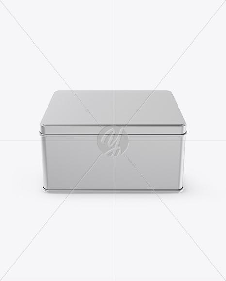 Matte Metllic Square Tin Box Mockup (High-Angle Shot)