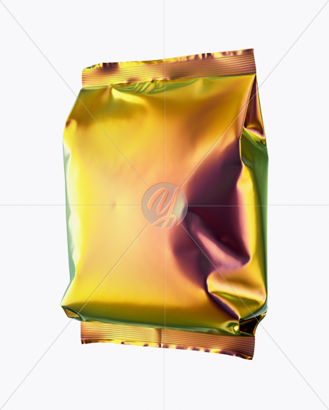 Download Holographic Snack Package Mockup Half Side View In Bag Sack Mockups On Yellow Images Object Mockups PSD Mockup Templates