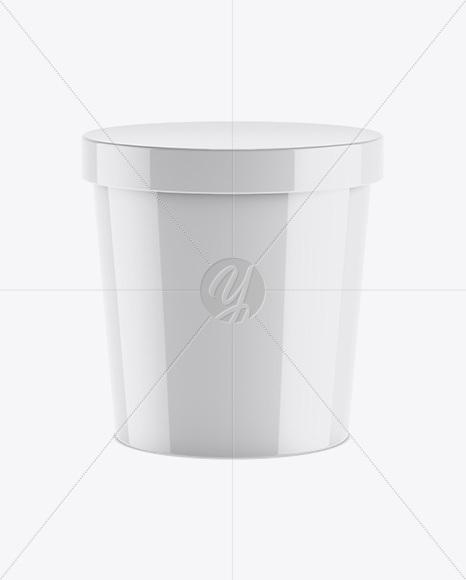 Glossy Ice Cream Round Box Mockup