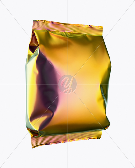 Download Holographic Foil Snack Package Mockup Half Side View In Bag Sack Mockups On Yellow Images Object Mockups PSD Mockup Templates