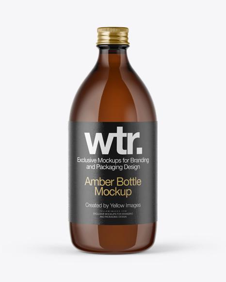 Amber Glass Bottle w/ Metal Cap Mockup