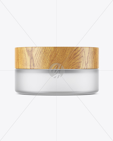 Frosted Glass Jar W/ Wooden Lid Mockup