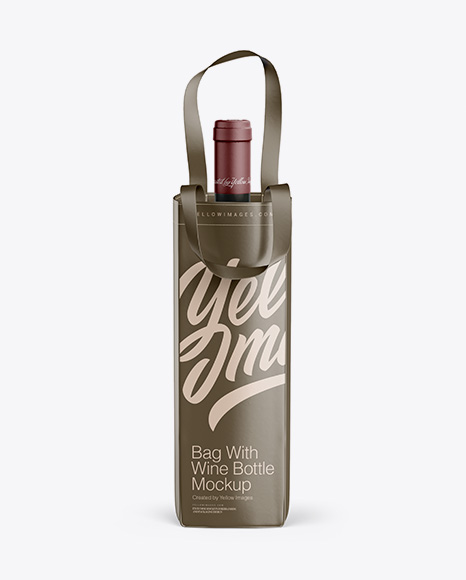 Download Bag With Wine Bottle Mockup - Front View Object Mockups