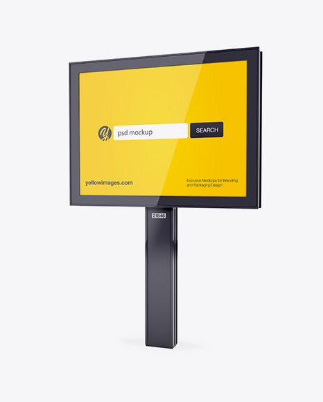 Download Glossy City Board Mockup Half Side View In Outdoor Advertising Mockups On Yellow Images Object Mockups PSD Mockup Templates